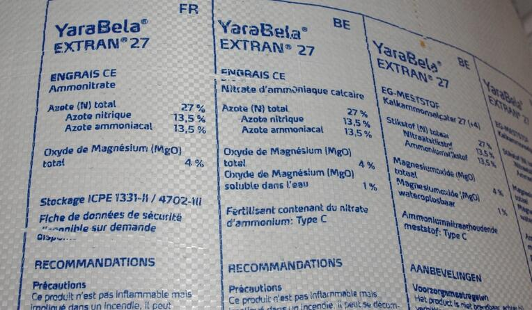 Compound fertilizer sold in bag labelled with the N:P:K concentrations.